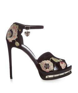 Alexander McQueen | Poppy-Embroide Suede Sandals