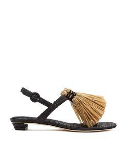 SANAYI 313 | Capannina Raffia-Embellished T-Bar Sandals