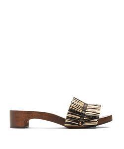 ÁLVARO   Alissa Raffia-Embellished Wooden Slides