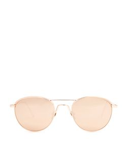 Linda Farrow | Round-Frame Rose Plated Sunglasses