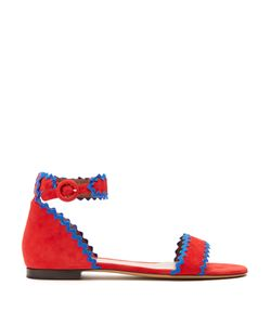 Tabitha Simmons | Leon Ric-Rac Trimmed Suede Sandals