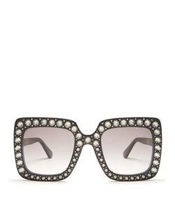 Gucci | Oversized Embellished Square-Frame Sunglasses