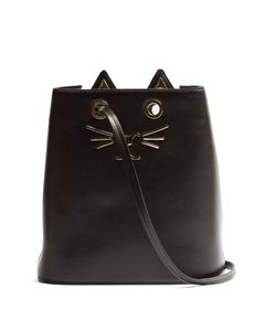 Charlotte Olympia | Feline-Embellished Leather Bucket Bag