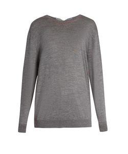 Miu Miu   Gingham-Bow Back Wool Sweater