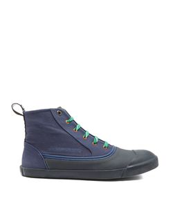 Lanvin   Rubber And Canvas High-Top Trainers
