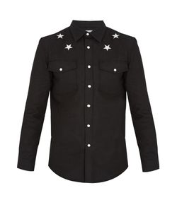 Givenchy | Star-Embroidered Stretch-Denim Shirt