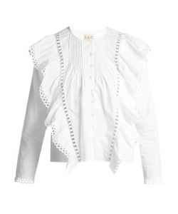 Sea | Ruffled Macramé Lace-Trimmed Cotton Blouse
