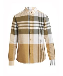 Moncler Gamme Bleu | Button-Down Collar Checked Cotton Shirt