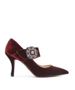 Prada | Crystal-Buckle Velvet Mary-Jane Pumps
