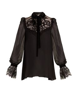 Elie Saab | Velvet-Embroidered Lace-Insert Georgette Blouse