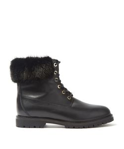 Aquazzura   Heilbrunner Fur-Trimmed Leather Ankle Boots
