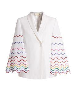 Sara Battaglia   Shawl-Collar Wave-Embroidered Cady Jacket