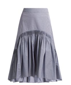 Teija | Smocked Dip-Hem Checked Cotton Skirt