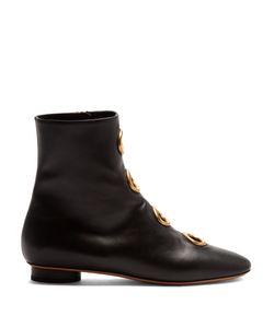 Valentino | Eyelet-Embellished Leather Ankle Boots