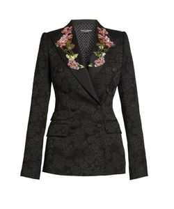 Dolce & Gabbana | Embellished-Rose Double-Breasted Jacquard Jacket