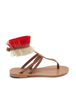 ÁLVARO | Arian Raffia-Embellished Leather Sandals