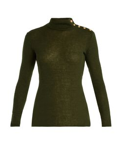 Balmain | Button-Shoulder Roll-Neck Sweater