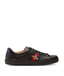 Gucci | New Ace Bee-Embroidered Leather Trainers