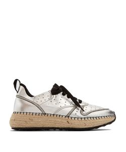 Tod'S | Leather And Espadrille-Sole Trainers
