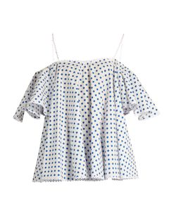 ANNA OCTOBER | Off-The-Shoulder Polka-Dot Top