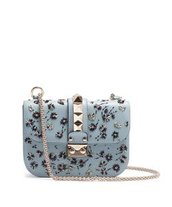 Valentino | Lock Small Embellished Leather Shoulder Bag