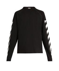 Moncler O | Striped-Sleeve Cotton-Jersey Sweatshirt