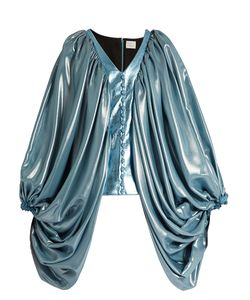 HILLIER BARTLEY | Balloon-Sleeve Silk-Blend And Faux-Leather Top