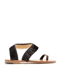 ÁLVARO | Angela Raffia-Embellished Leather Sandals
