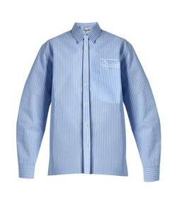 MARTINE ROSE | Oversized Striped Bonded-Cotton Shirt