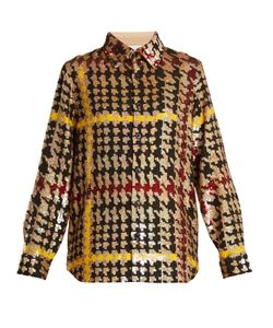 Ashish | Button-Down Hounds-Tooth Sequin-Embellished Shirt