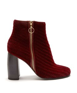 Stella Mccartney | Block-Heel Woven-Velvet Ankle Boots