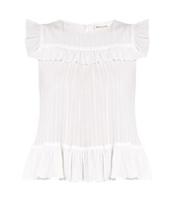 Masscob | Sleeveless Ruffle-Trimmed Cotton Top