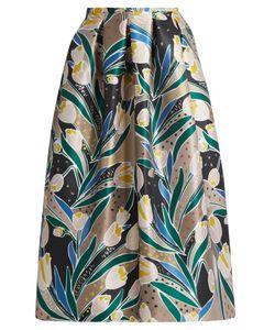 Rochas | Tulip-Print Duchess-Satin Midi Skirt