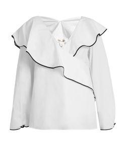 Diane Von Furstenberg | Fluted-Lapel Wrap Cotton Blouse