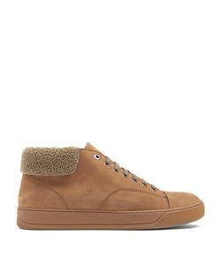 Lanvin | Mid-Top Suede And Shearling Trainers