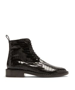 Robert Clergerie | Jacen Crocodile-Effect Leather Ankle Boots
