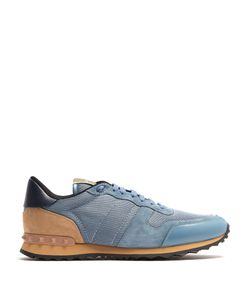 Valentino   Rockrunner Leather And Suede Low-Top Trainers