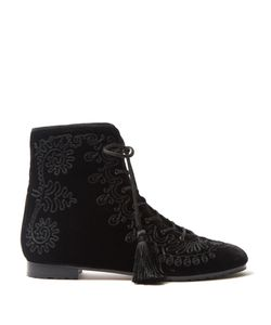 Aquazzura | Almaty Embroidered Velvet Ankle Boots