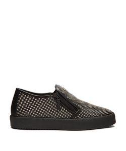 Giuseppe Zanotti Design   Adam Stud-Embellished Leather Slip-On Trainers