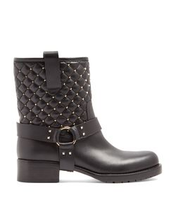 Valentino | Rockstud Spike Quilted-Leather Biker Boots