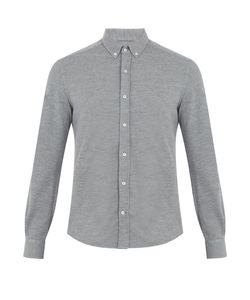 Brunello Cucinelli | Button-Down Collar Wool-Blend Piqué Shirt