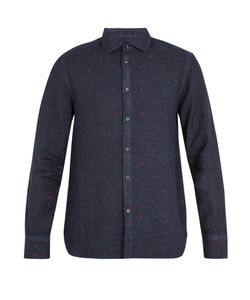 120% Lino | Point-Collar Fil Coupé Linen Shirt