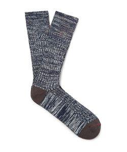 Mr. Gray   Mélange Stretch-Knit Socks