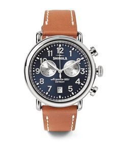 SHINOLA | The Runwell 41mm Chronograph Stainless Steel And Leather Watch