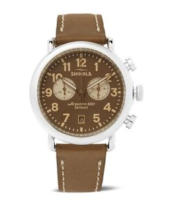 SHINOLA | The Runwell Chronograph 41mm Stainless Steel And Leather Watch
