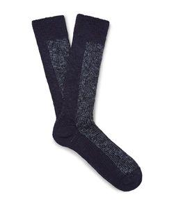 Mr. Gray   Mélange Stretch Cotton-Blend Socks