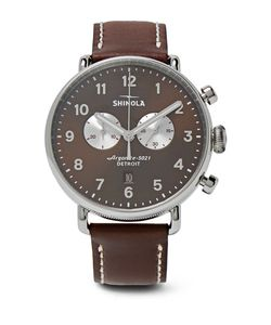 SHINOLA | Canfield Chronograph 43mm Stainless Steel And Leather Watch