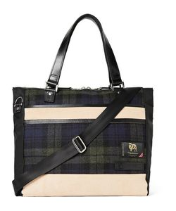 Master-Piece | Leather-Trimmed Nylon And Checked Wool Tote Bag