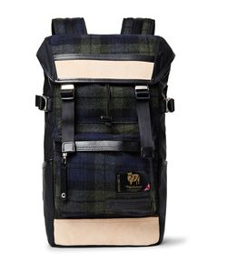 Master Piece | Leather-Trimmed Nylon And Checked Wool Backpack