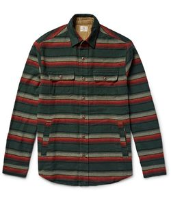 Faherty | Suede Ebow-Patch Striped Cotton-Fanne Shirt